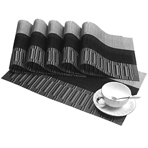 SHACOS Woven Vinyl Placemats for Dining Table Heat Resistant PVC Bamboo Style Table Mats (6, Ombre Black Gray)