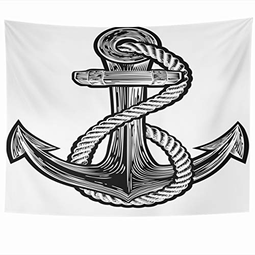 Ahawoso Tapestry 60x50 Inches Sailor Original Ships Anchor Rope Vintage Navy Tattoo Style Tatoo Antique Cut Wall Hanging Home Decor Tapestries for Living Room Bedroom Dorm
