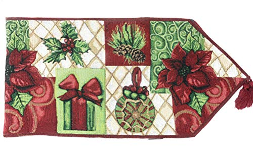 Tache Decorative Christmas Poinsettia Elegant Holiday Tidings Tapestry Table Runners, 13 x 72 (Furniture Holiday)