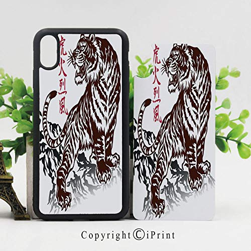 - Case for Apple iPhone 10 Wild Chinese Tiger with Stripes and Roaring While its Paws on Rock Asian Pattern Decorative Shockproof Flexible Soft TPU Scratch Resistant Protective Reinforced Phone Cases,B