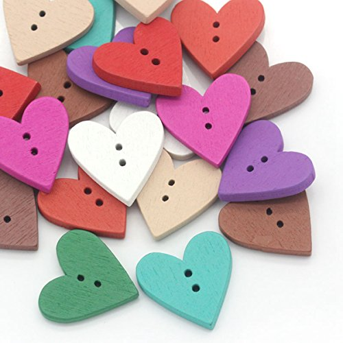 Heart Sewing - HOUSWEETY 100PCs Wood Buttons Sewing Scrapbooking Love Heart Mixed 24mmx23mm(1