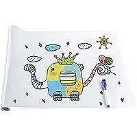 rabbitgoo® Grand Tableau Blanc Adhésif Ardoise Effaçable Sticker Autocollant Mural 44.5cm x 199cm avec 1 Marqueur pour l'école/Bureau/Accueil - Blanc