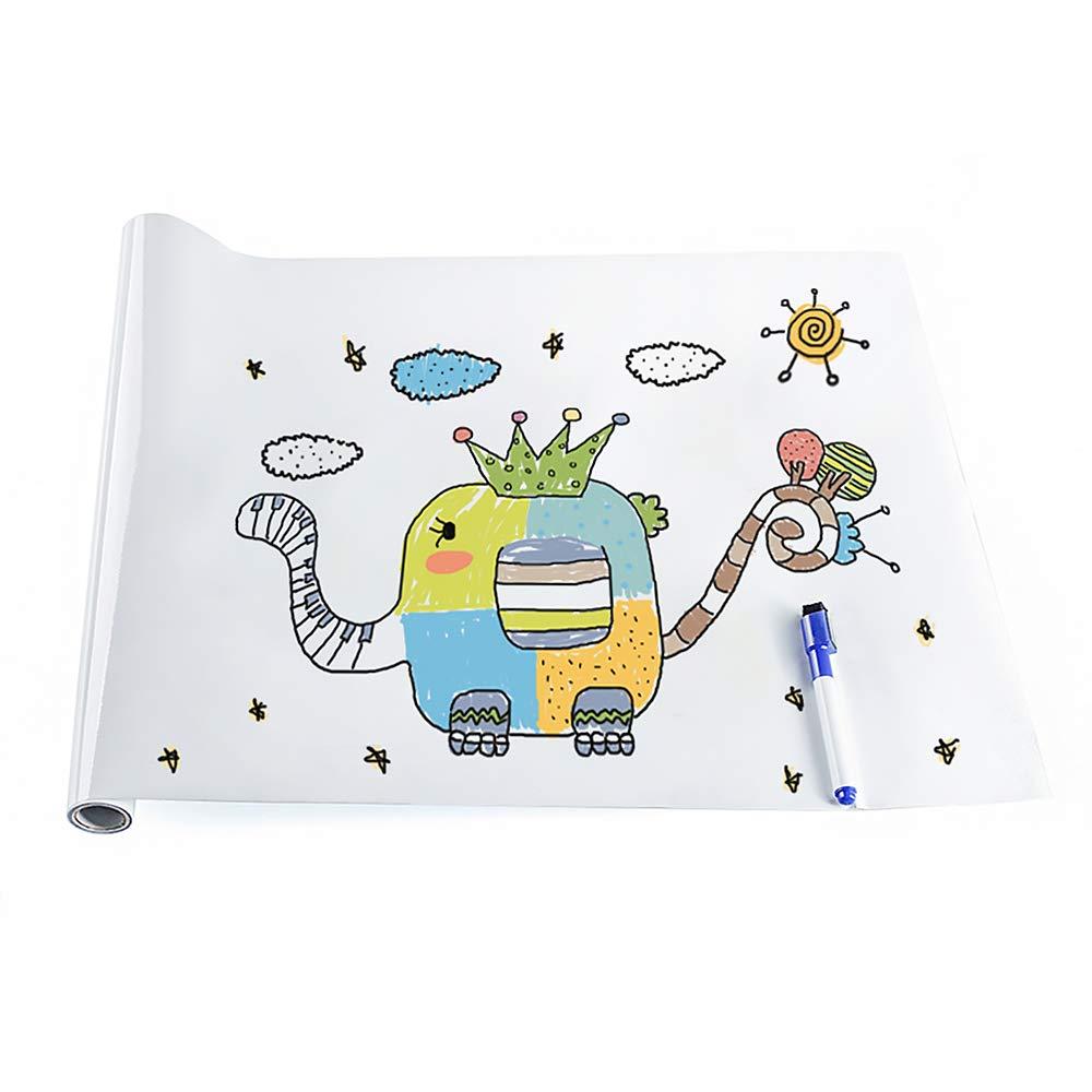rabbitgoo Grande Lavagna Adesiva, Memo da Parete, Stickers Nota Appunto Rimovibile per Scuola/Ufficio/Casa 44.5cm x 199cm con Pennarello (Lavagna Bianca) GLOBEGOU WZ CO. LTD DTHBT001W