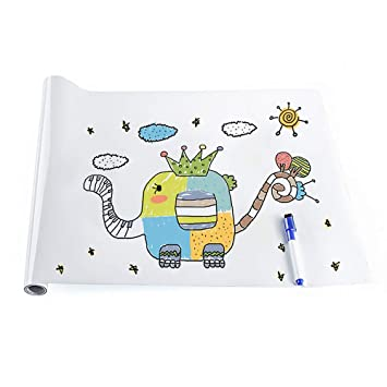 Rabbitgoo Whiteboard Folie, Selbstklebende Tafelfolie Wandfolie  Wandaufkleber Kreidetafel Mit Markierstift DIY Weiß 44.5 X 199cm
