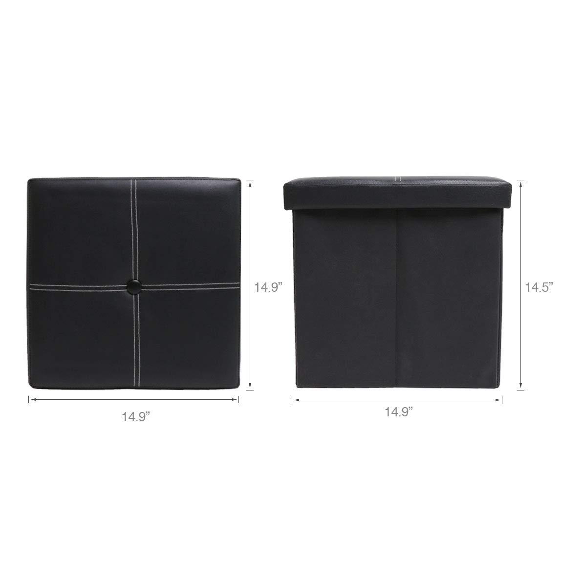 SZAT PRO Grey Faux Leather Cube Storage Ottomans 12 inch