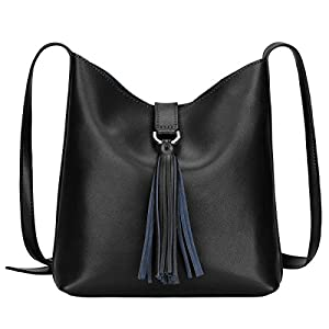S-ZONE Women's Small Cowhide Leather Shoulder Bag Cross-body Bag with Tassel Ladies Bucket Tote