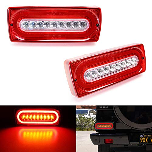 (iJDMTOY Red Lens Dynamic Sequential Blink Laser Style Full LED Turn Signal Light Tail Lamps For 1999-18 Mercedes W463 G-Class G500 G550 G55 G63 AMG (2019 G Design))