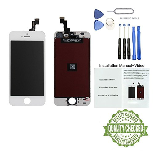 (Brand New Display for iPhone 5 5S SE 5C LCD 4.3 inch Touch Screen Replacement Digitizer Display Assembly Includes Free Tools Kit Installation Manual+Video(5S/SE-White(4.3 inches)))