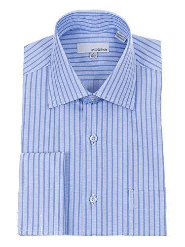Mens Blue Textured Stripe Spread Collar French Cuff Cotton Blend Dress Shirt Stripe Spread Collar French Cuff