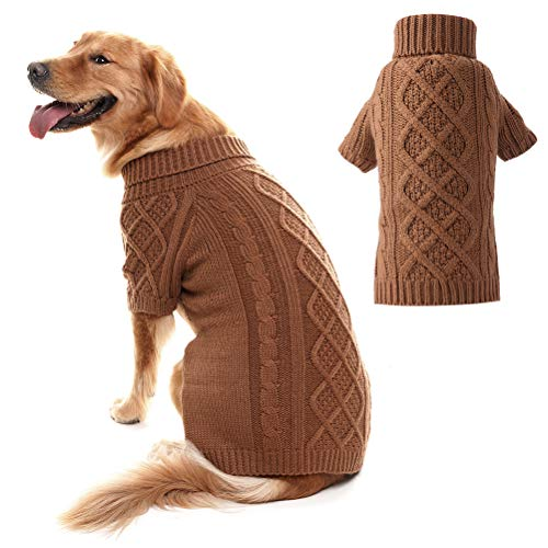 PUPTECK Classic Cable Knit Dog Sweater - Pet Turtleneck Coat Puppy Winter Clothes 2 Colors Brown - Pet Personalized Sweatshirt