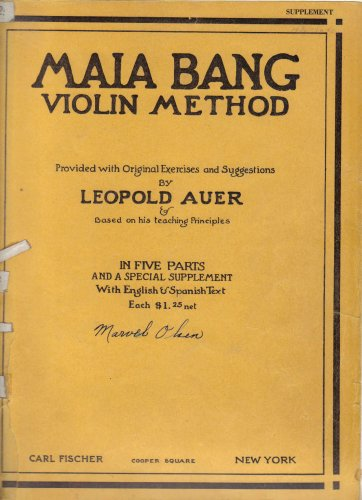 Maia Bang Violin Method: In Five Parts and a Special Supplement with English & Spanish Text (Supplement)