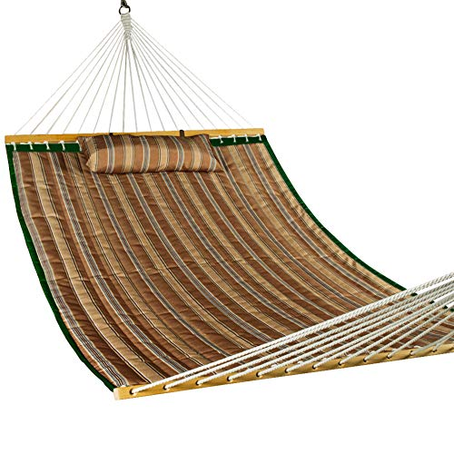 Lazy Daze Hammocks Hammock Quilted Fabric with Pillow for Two Person Double Size Spreader Bar Heavy Duty Stylish, Brown Stripe (Hammock Quilted Fabric Large)