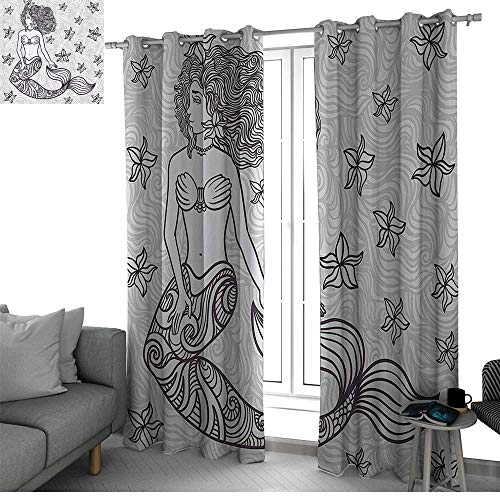 Mermaid 2 Panels Set Bedroom Kitchen Spiritual Magical Mermaid Woman in Waves with Shell Flower Nymph Mythological Art Print Black Out Window Curtain Grey W108 x L108 Inch ()