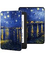 Capa para Kindle 10a geração (aparelho com iluminação embutida) - rígida - sistema de hibernação - Noite Estrelada Sobre o Ródano