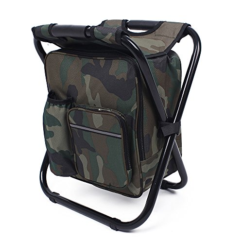 We Moment Folding Portable seat Backpack Fishing Cooler Beach Chair for Camping, Fishing, Watching Sports Events, Tailgating, Hiking, Picnics,Outdoor Lightweight Backpack Foldable Chair,camo (Ice Fishing Seats)