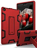 TIANLI All-New Amazon Kindle Fire HD 8 Tablet Case (7th Generation,2017 Release) - Sturdy Kickstand and Shockproof Protection and Heavy Duty for Kids,Red Black