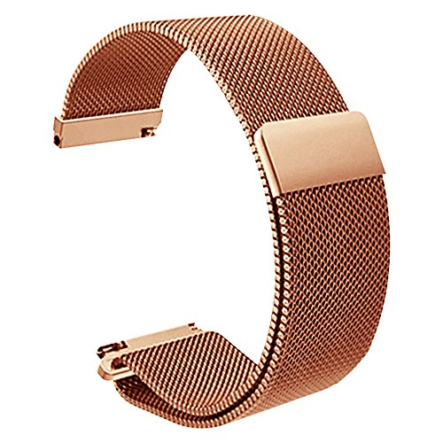 18mm Watch Band Magnetic Fully Closure Clasp Replacement Mesh Stainless Steel Metal Strap Rose Gold