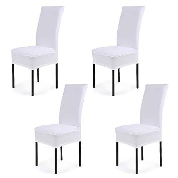 CosyVie - 4 PCS Fundas para sillas de salon fundas elasticas y lavables para protección sillas de comedor, Blanco: Amazon.es: Hogar