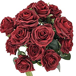 DALAMODA Burgundy 2 Bundles (with Total 20 Heads) Rose Flower Bouquet, for DIY Any Decoration Artificial Silk Flower