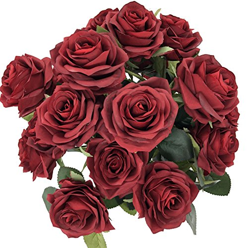 DALAMODA Burgundy 2 Bundles (with Total 20 Heads) Rose Flower Bouquet, for DIY Any Decoration Artificial Silk Flower]()