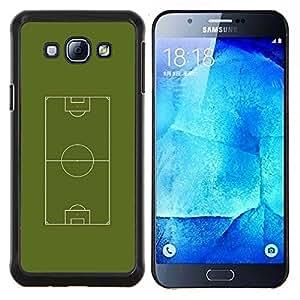 KLONGSHOP // Cubierta de piel con cierre a presión Shell trasero duro de goma Protección Caso - Fútbol Campo de fútbol - Samsung Galaxy A8 A8000 //