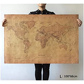 Amazon world map vintage style longitude latitude earth atlas choose size the old world map huge large vintage style retro paper poster home wall decoration gumiabroncs Images