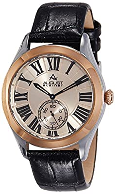 August Steiner Men's AS8203BKR Rose Gold Multifunction Quartz Watch with Rose Gold Dial and Black Embossed Leather Strap