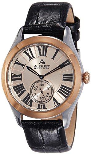 Black Sunburst Roman Dial (August Steiner Men's AS8203BKR Rose Gold Multifunction Quartz Watch with Rose Gold Dial and Black Embossed Leather Strap)
