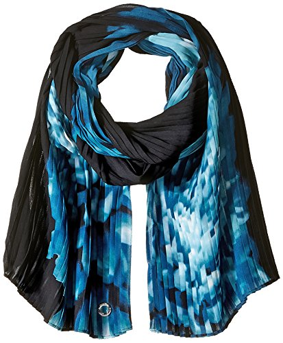 Calvin Klein Women's Pleated Floral Chiffon Scarf, cypress, One Size