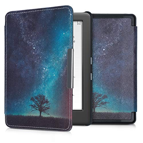 kwmobile Case Compatible with Kobo Glo HD/Touch 2.0 - PU e-Reader Cover - Cosmic Nature Blue/Grey/Black