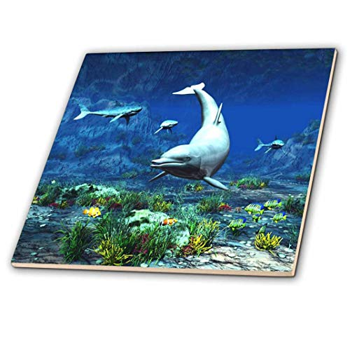 3dRose ct_172906_2 Underwater Scene with Dolphin, Sharks and Tropical Fishes Ceramic Tile, 6-Inch