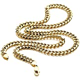 14K Yellow Gold REAL Light Miami Cuban Curb Link Chain Necklace 7.5MM 30 Inch Lobster Claw Clasp