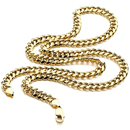 14K Yellow Gold REAL Light Miami Cuban Curb Link Chain Necklace 7.5MM 26 Inch Lobster Claw Clasp by Metal Masters Co.