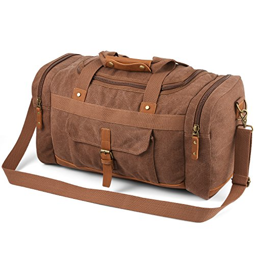 (Plambag Canvas Duffle Bag, 50L Large Travel Duffel for Overnight Weekend Luggage(Coffee))