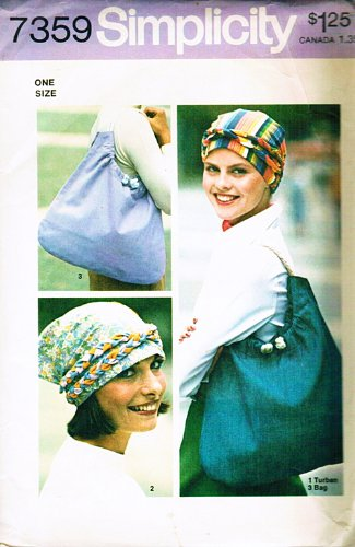 (Simplicity 7359 Misses' Boho Mod Turban with Braid, Scarf and Mod Bag Sewing Pattern, Vintage 1976)