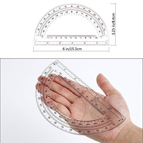 24 Pack Protractors Esee Plastic Protractor for School Teachers and Students, 6 Inch Math Clear Protractor by ESEE (Image #2)