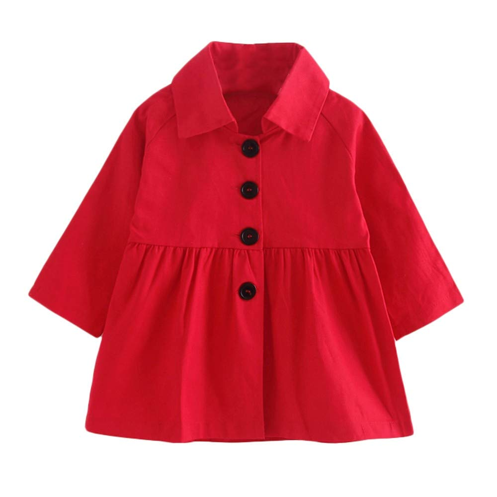Baby Girl Coat,Fineser Fashion Toddler Baby Girl Long Sleeve Solid Coat Dress Autumn Jacket Outerwear Windbreaker Clothes