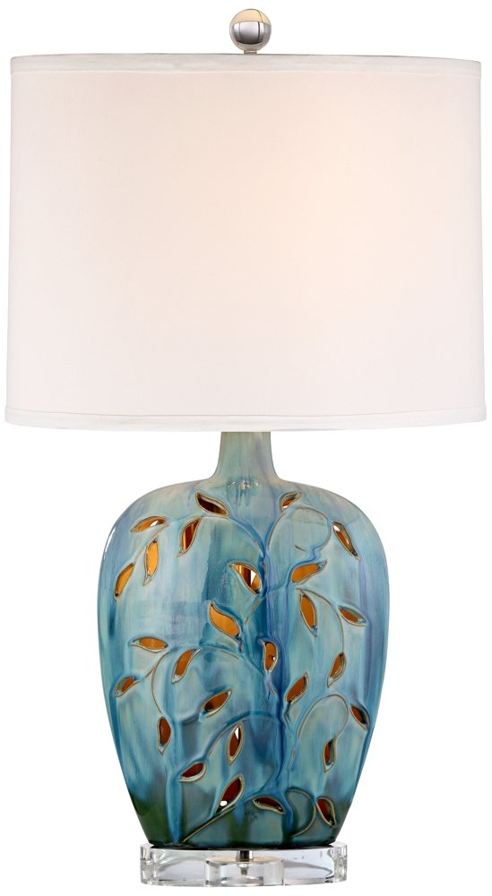 "Devan Cottage Table Lamp with Nightlight Ceramic Blue Vine Handcrafted Oval Fabric Shade for Living Room Family Bedroom - 360 Lighting - Overall: 24 1/2"" high. Base is 14"" wide x 3 1/2"" deep. Shade is 13"" across the top x 14"" across the bottom x 11"" high x 9"" deep. Uses one 100 watt maximum bulb (not included). One GU9 7 watt LED night light built into the base. 4 position switch: night light on, top light on, both lights on, off. - lamps, bedroom-decor, bedroom - 51mN6yT1MGL -"