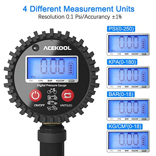 Acekool Digital Tire Inflator with Pressure Gauge,250 PSI Heavy Duty Air Chuck Tire Inflator & Deflator Tool with Rubber Hose, Quick Connect Coupler and 1/4'' NPT for Trucks, Automobiles and Motorcycle by Acekool (Image #3)