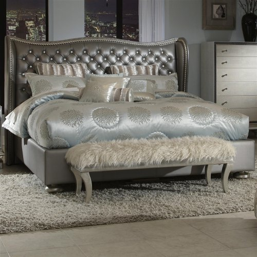 Hollywood Swank Eastern King Graphite Leather Bed By - Aico Office Furniture