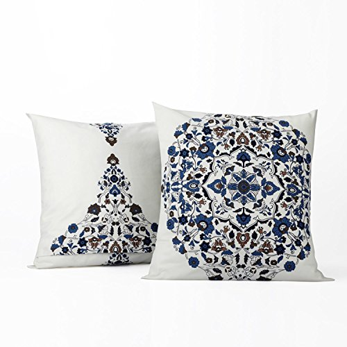 PRTW-D41-CC20PR Printed Cotton Cushion Cover-Pair, 18 x 18, Kerala Blue, 2 Piece ()