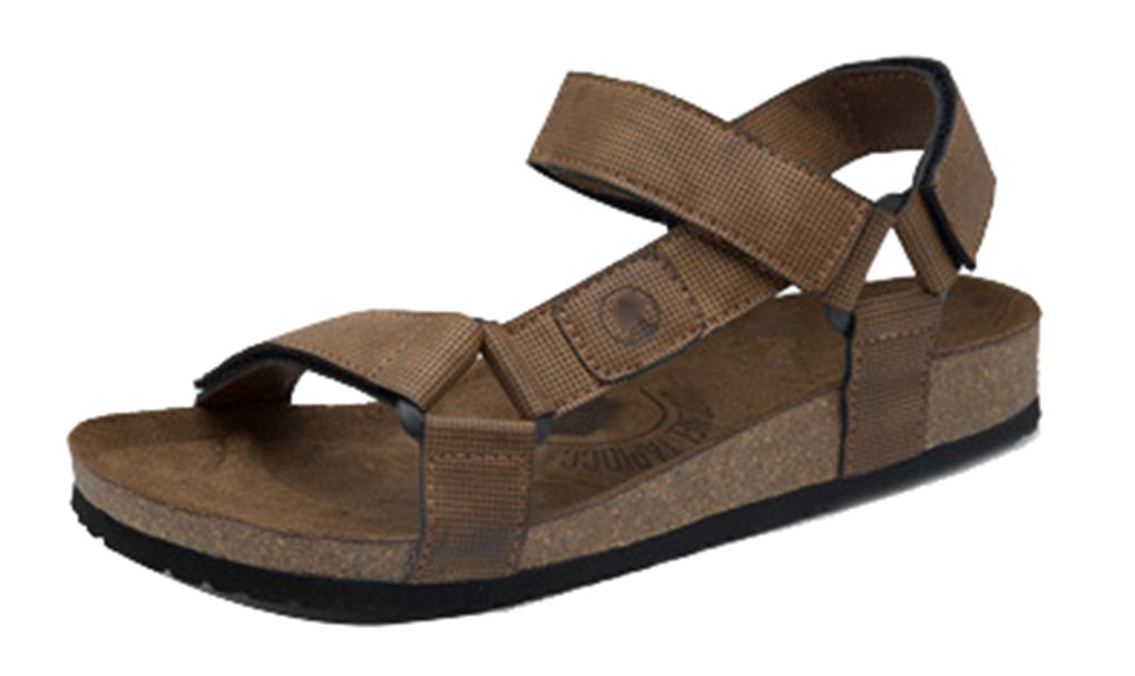 Femaroly Men's Shoes Summer New Breathable Beach Sandals Leather Casual Slippers Brown 9M
