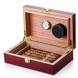 Cigar Humidor Handmade Wood Cigar Humidor Holds 10-15 Cigars Desktop Box Humidor with Hygrometer and Humidifier Front-Mount Clasp Lock