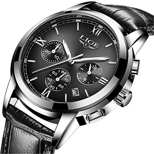 LIGE Mens Watch Luxury Business Analog Quartz Watch Fashion Sport Chronograph Calendar Wrist Watch with Black Leather…