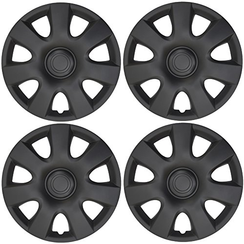 BDK K94B Matte Black Hubcaps Wheel Covers (15 inch) - Four (4) Pieces Corrosion-Free & Sturdy - Full Heat & Impact Resistant Grade - OEM Replacement