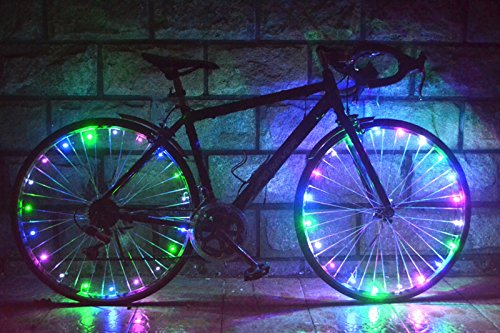 Walmart Led Christmas Lights - OuterStar Waterproof Bicycle Wheel Lights 20-LED Bike String light Lightweight Colorful for Safety and Fun (Set of 2)