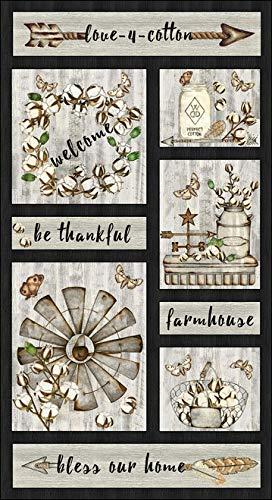 (Tana Mueller - Blank Quilting Love 4 Cotton 9431P-39 Farmhouse Panel - Dark Brown)
