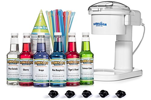 Kid-Friendly Snow Cone Machine and Syrup Party Package by Hawaiian Shaved Ice | Kit Features S700 Home-Use Machine, the Top 6 Snow Cone Syrups, Dispensing Accessories| Make snow cones at home