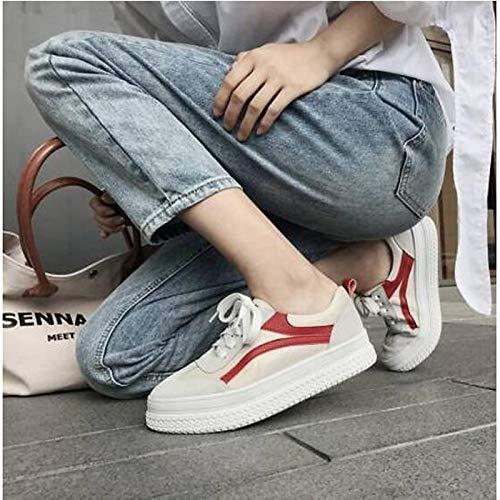 Estate Punta piatto donna Rosso ed Nero Pelle chiusa Sneakers ZHZNVX da Black di scuro pecora Tacco Comfort Primavera Scarpe FqwOx7v