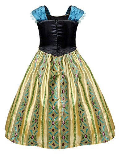 Cotrio Little Girls Anna Coronation Dress Princess Anna Costume Dress up Halloween Cosplay Party Fancy Dresses Size 4T (110, Green 02) by Cotrio (Image #3)